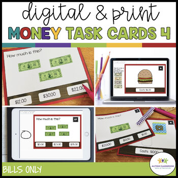 Money Task Cards 4--The Restaurant (Bills only) {Autism; Special Ed}