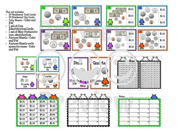 Money Task Cards - Bills and Coins
