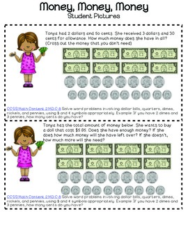 Money Task Cards Color- Problem Solving