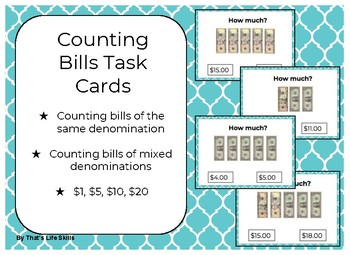 Money Task Cards: Counting Bills
