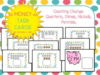Money Task Cards: Counting Coins: First; Second Grade; Spe