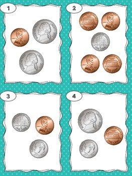 Money Task Cards - Counting Coins - Totals Less than 25 Cents
