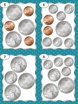 Money Task Cards - Counting Coins - Totals between 75 cents and $1.00