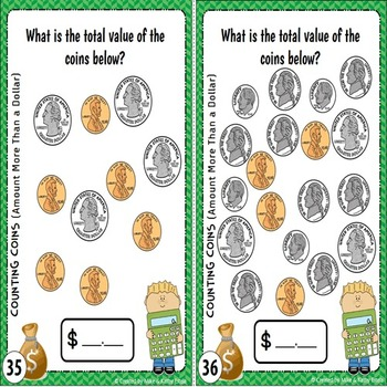 Money Task Cards {Counting Coins with Amount More Than a Dollar}