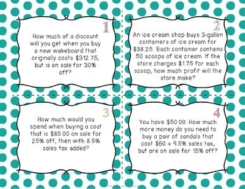 Money Task Cards - Making Change, Adding Tax, Percent of Sale, Adding Tip