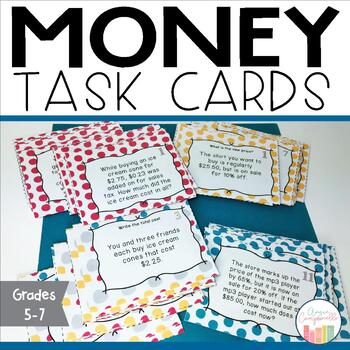 Money Task Cards - Making Change, Adding Tax, Percent of S