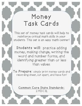 Money Task Cards - Math Center