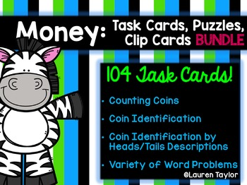 Money Task Cards, Puzzles, and Clip Cards- THE BUNDLE!