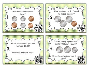 Money Task Cards Set 1:Coins up to $1.00: 2nd Grade CC:Works with Time and Money