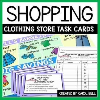 Money Word Problems Task Cards The Clothing Shop