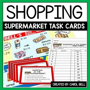 Shopping Task Cards The Supermarket