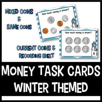 Money Task Cards: Winter Themed