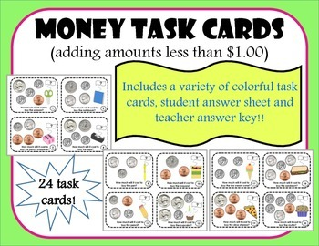 Money Task Cards less than 1.00