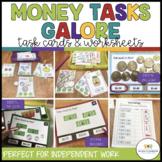 Money Tasks Galore Bundle: Early Elem & Special Ed Task Cards & Worksheets