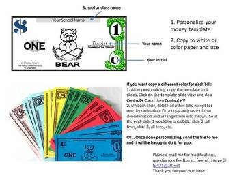 classroom money template teaching resources teachers pay teachers
