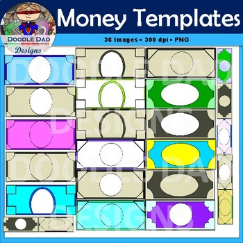 Money template clip art customizable currency finance for Classroom bucks template