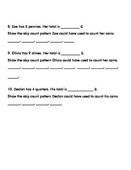 Money Test I- 2nd Grade Common Core Aligned