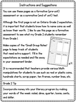 Money Test to $1 Grade 2 Ontario Assessment