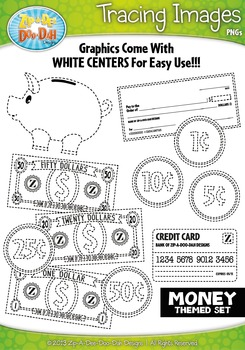 Money Themed Tracing Image Clipart Set — Includes 15 Graphics!