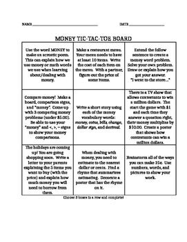 Money Tic-Tac-Toe Board
