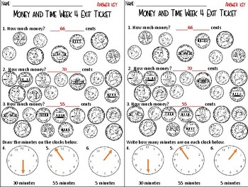 Money & Time Review - Morning Work and Exit Tickets