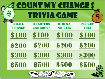 Money Trivia Game:  Change/Cents Game!  Fun Stuff