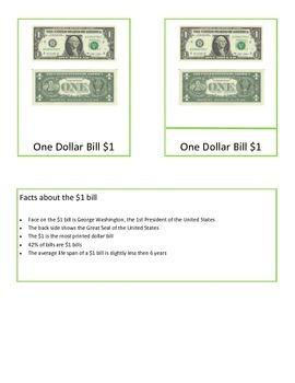 Money - U.S. Dollar Montessori 3-Part Cards and facts