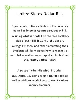 Money - U.S. Dollar Montessori 3-Part Cards and facts