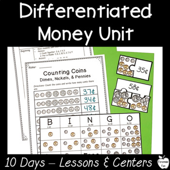 1st Grade/2nd Grade Money Unit ~ Differentiated Lessons, Centers, & Worksheets!
