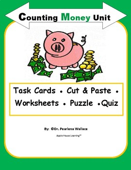 MONEY UNIT:  Counting Coins, Worksheets, Money Poster, Task Cards