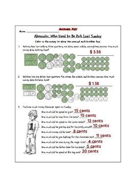 Money Unit - Worksheet for Alexander Who Used To Be Rich On Sunday