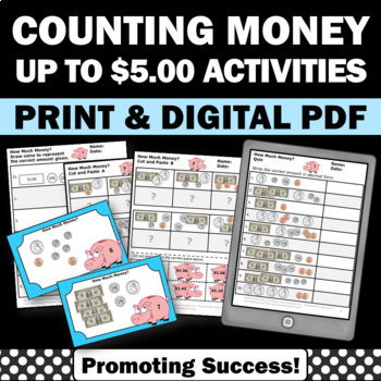 Counting Money Task Cards, Dollars and Coins Worksheets, 2nd Grade Math Centers
