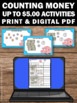 Counting Money Task Cards and Worksheets, Dollars and Cents up to $5.00