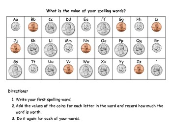 Money Value of Spelling Words