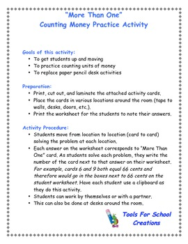 Money Values:  Counting Change Activity Cards