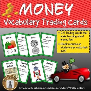 Money Vocabulary Trading Cards
