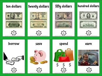 Money Vocabulary Trading Card Activities and Word Wall Posters