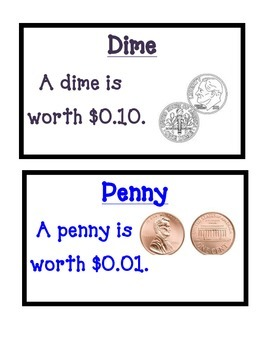 Money Vocabulary Word Wall Cards