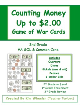 Counting Money  up to $2.00 - Game of War Cards - 2nd Grade