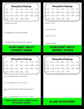 Money Word Challenge