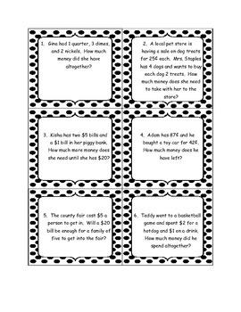 Money Word Problem Cards