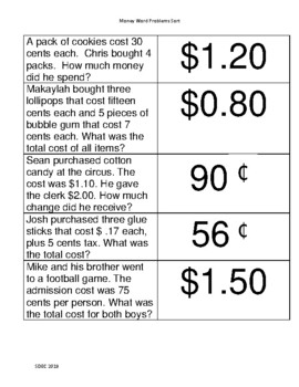 Money Word Problem Flashcards up to $2.00