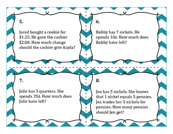 Money Word Problem Task Cards