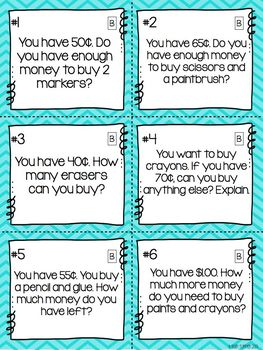 Money Word Problem Task Cards: Art Supply Store!