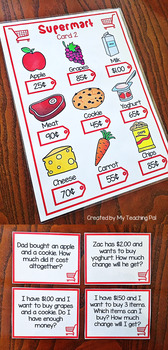 Money Word Problem Task Cards - Grocery Shopping Theme