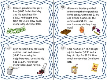 Money Word Problem Task Cards- Money Resources