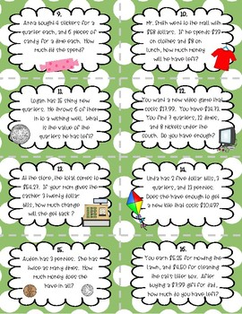 Money Word Problem Task Cards (two step)