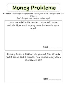 Money Word Problems! 2nd Grade! CCSS aligned