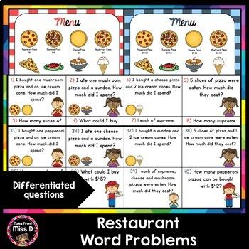 Money Word Problems Restaurant