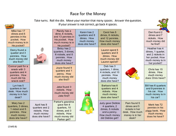 Money Word Problems Board Game